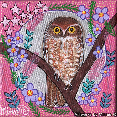 Boo Book Owl Moon Dreaming Small Contemporary Aboriginal Art Original Painting by Mirree
