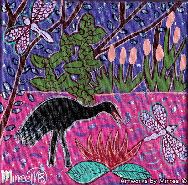 'Brolga Swamp with Dragonfly' Original Painting by Mirree Contemporary Dreamtime Animal Dreaming