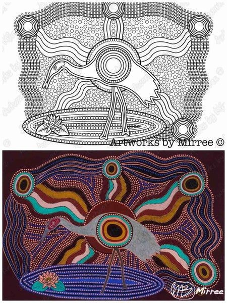 2 Books 'Dreamtime Colouring Book' COLOURING BOOK and COMPANION BOOK plus FREE BOOK by Mirree Contemporary Dreamtime Animal Series