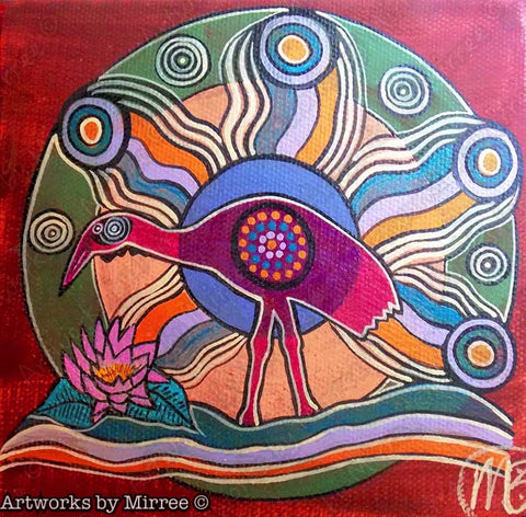 'Brolga Inner Beauty' Original Painting by Mirree Contemporary Dreamtime Animal Dreaming