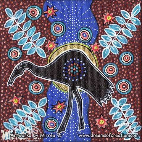 'Brolga with Lotus & Leaves' Original Painting by Mirree Contemporary Dreamtime Animal Dreaming