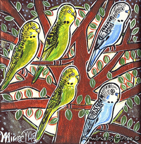 'Budgerigar' Original Painting by Mirree Contemporary Dreamtime Animal Dreaming