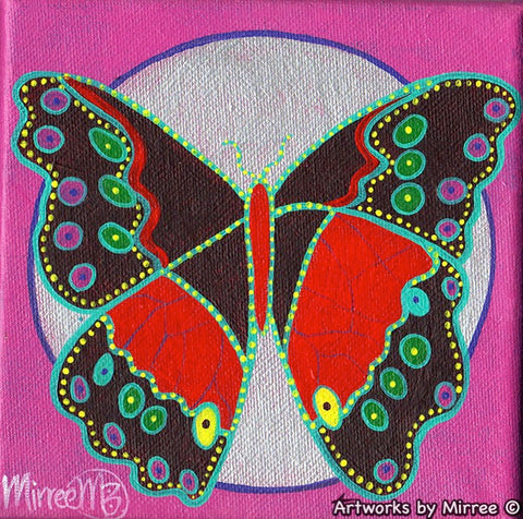 'BUTTERFLY MOON' Original Painting by Mirree Contemporary Dreamtime Animal Dreaming