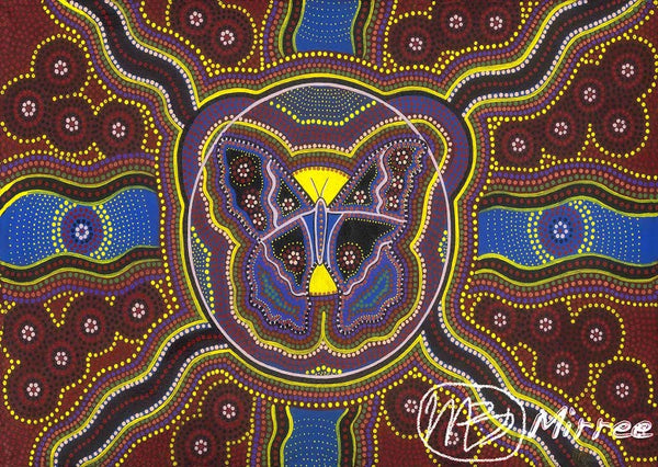 Butterfly Aboriginal Art Spirit Dreaming A6 Gift Card Single by Mirree