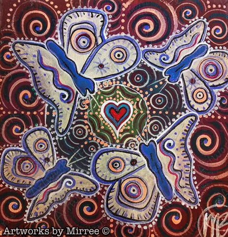 Small Spirit of Butterfly Healing Wounds Contemporary Aboriginal Art Original Painting by Mirree