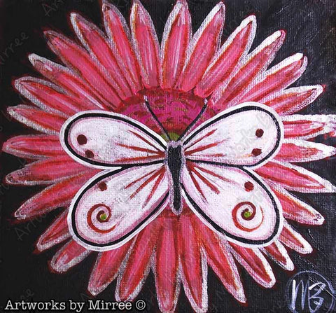 Butterfly Dreaming on Pink Gerbera Out of the Dark Contemporary Aboriginal Art Original Painting by Mirree