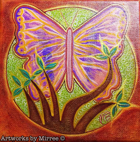 Butterfly Tree Contemporary Aboriginal Art Original Painting by Mirree