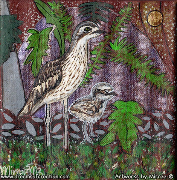 'Bush Stone Curlew Mother & Baby' Original Painting by Mirree Contemporary Dreamtime Animal Dreaming