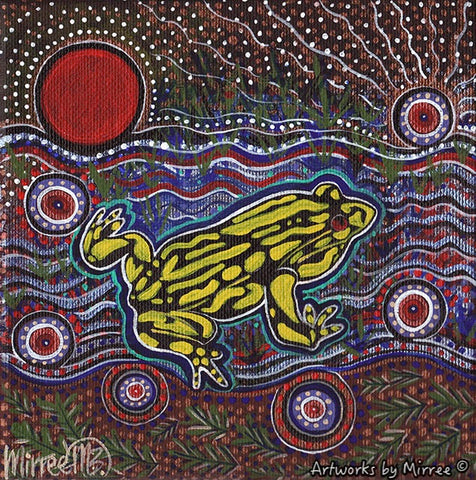 'Australian Corroboree Frog' Original Painting by Mirree Contemporary Dreamtime Animal Dreaming