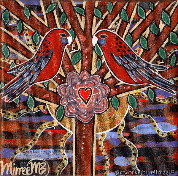 Crimson Rosella Hearts Opening Dreaming Contemporary Aboriginal Art Original Painting by Mirree