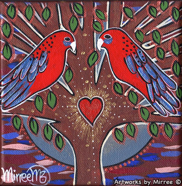 'Australian Crimson Rosella Heart with leaves' Life Changing Original Painting Series by Mirree Contemporary Dreamtime Animal Dreaming