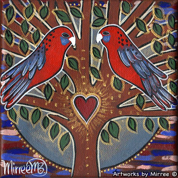'Australian Crimson Rosella Heart' Life Changing Original Painting Series by Mirree Contemporary Dreamtime Animal Dreaming