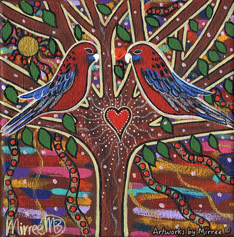 Crimson Rosella Growing Dreaming Contemporary Aboriginal Art Original Painting by Mirree
