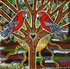 Crimson Rosella Hearts New Beginning Dreaming Contemporary Aboriginal Art Original Painting by Mirree