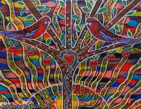Crimson Rosella Dreaming Contempoary Aboriginal Art Original Painting by Mirree