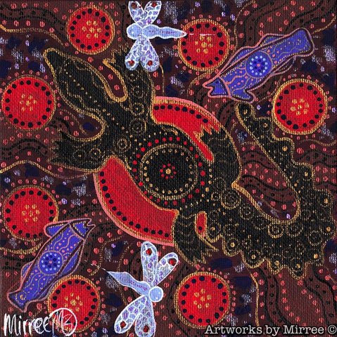 'Crocodile w Barramundi & Dragonfly ' Original Painting by Mirree Contemporary Dreamtime Animal Dreaming