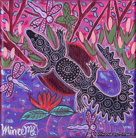 'Crocodile Swamp with Dragonfly' Original Painting by Mirree Contemporary Dreamtime Animal Dreaming