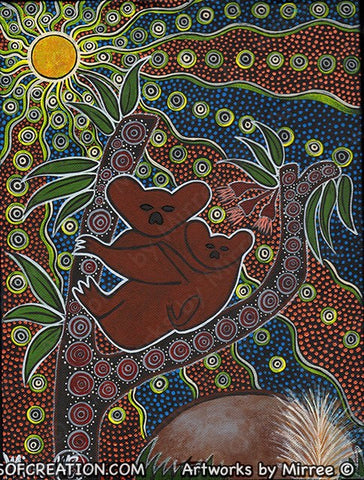 Night Time Koala Dreaming Contempoary Aboriginal Art Original Painting by Mirree