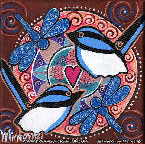 'Dragonfly and Blue Wren' Immerse Yourself Original Painting by Mirree Contemporary Dreamtime Animal Dreaming
