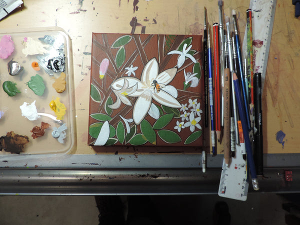 'White Flower Blossoming with Bee' Original Painting by Mirree Contemporary Dreamtime Animal Dreaming
