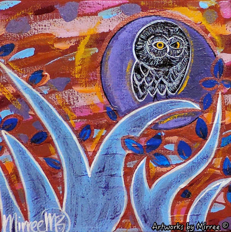 Purple Moon Day Owl Contemporary Aboriginal Art Original Painting by Mirree