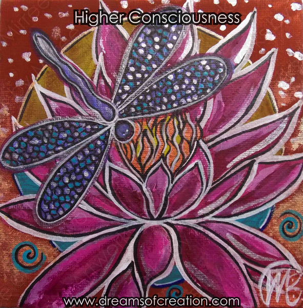 'Pink Lotus with Dragonfly' Original Painting by Mirree Contemporary Dreamtime Animal Dreaming