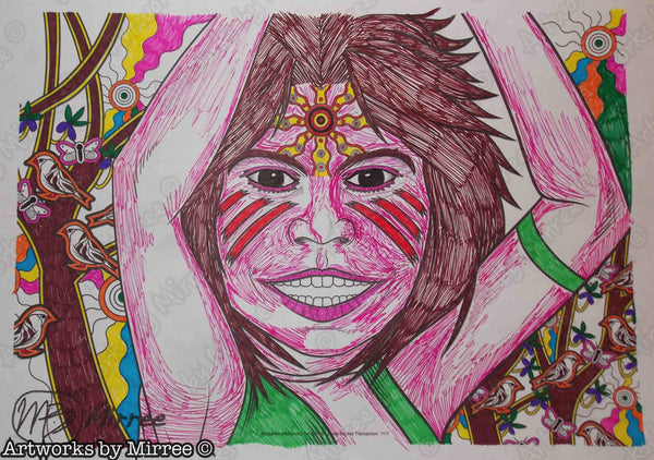 'Aboriginal and Torres Strait Islander Children's Day Colouring Single PDF Page' COLOURING PAGE by Mirree Contemporary Dreamtime Series