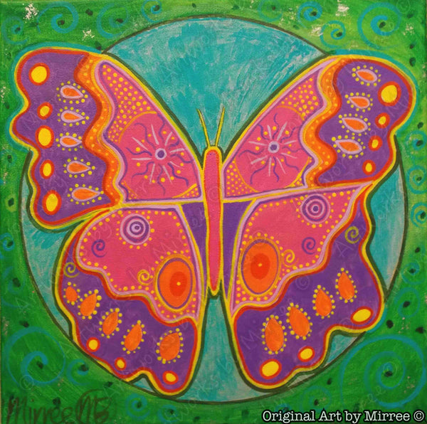 Butterfly Dreaming Contemporary Aboriginal Art Original Painting by Mirree