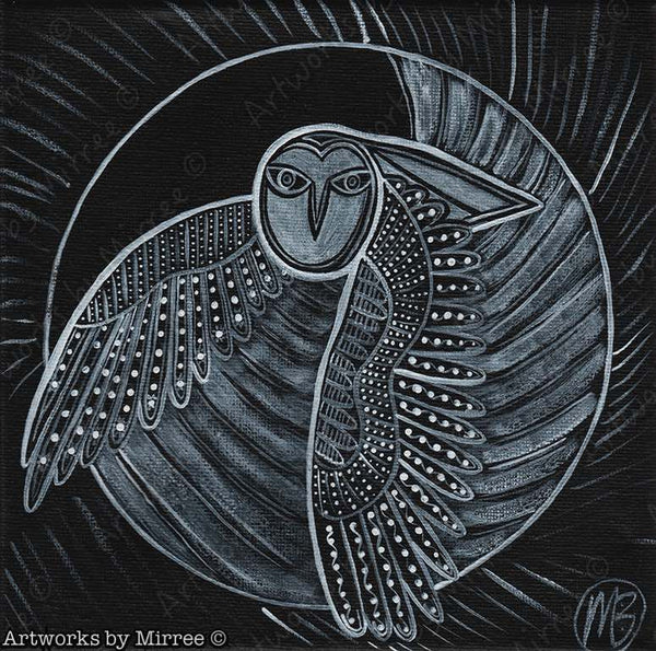 Dreamtime Owl Contemporary Aboriginal Art Original Painting by Mirree