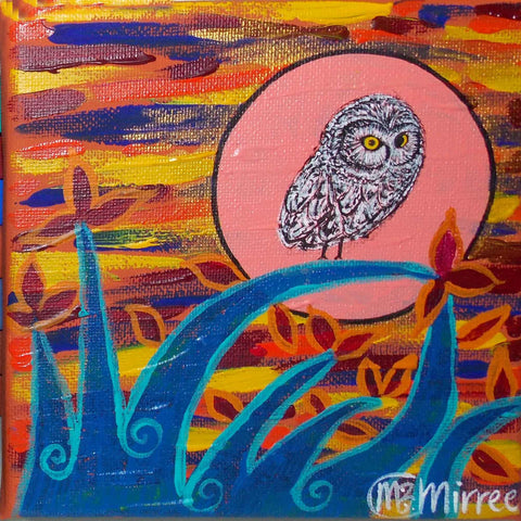 Day Owl #1 Contemporary Aboriginal Art Original Painting by Mirree