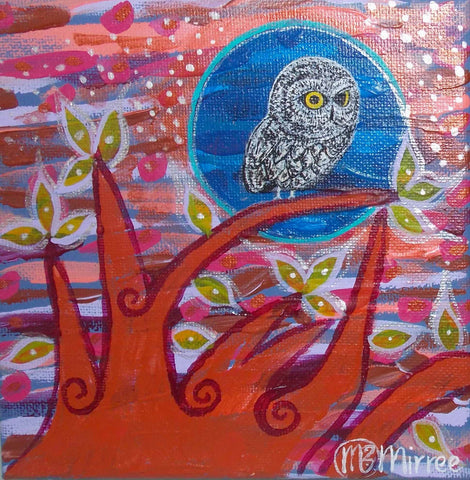 Day Owl #2 Contemporary Aboriginal Art Original Painting by Mirree