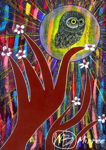 Day Owl Aboriginal Art Animal Dreaming A6 Gift Card Single by Mirree