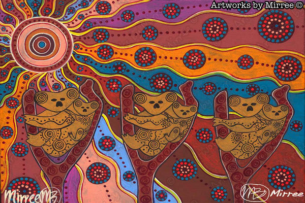 Day Time Koala Painting A3 Girlcee Print by Mirree Contemporary Aboriginal Art