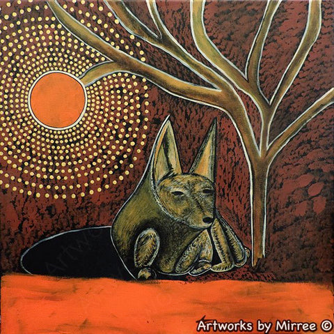 'Australian Desert Daydream Dingo' 45cm Original Painting by Mirree Contemporary Dreamtime Animal Dreaming