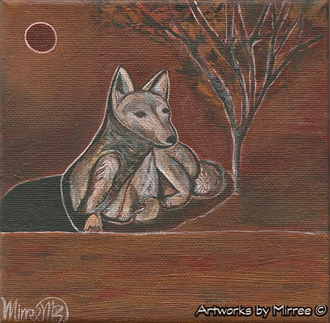'Australian Desert Daydream Dingo' Original Painting by Mirree Contemporary Dreamtime Animal Dreaming