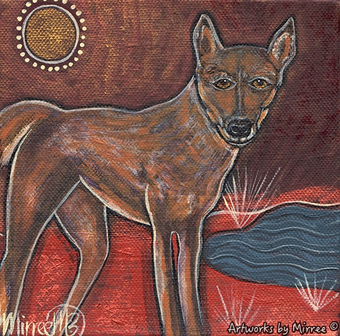 'Australian Desert Dingo by the Billabong' Original Painting by Mirree Contemporary Dreamtime Animal Dreaming