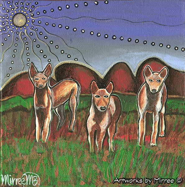 'Australian Pack Dingoes ~ Dreaming Track to the Stars' Original Painting by Mirree Contemporary Dreamtime Animal Dreaming