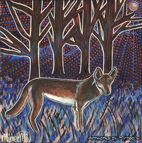 'Midnight Blue Dingo ~ Crossroads Dreaming' Original Painting by Mirree Contemporary Dreamtime Animal Dreaming