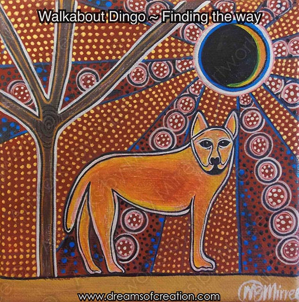 'Walkabout Dingo' Original Painting by Mirree Contemporary Dreamtime Animal Dreaming