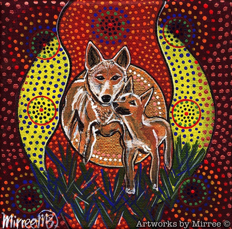 'Australian Dingo and Baby' Original Painting by Mirree Contemporary Dreamtime Animal Dreaming