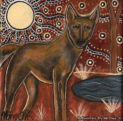 'Australian Desert Dingo by the Moonlight' Original Painting by Mirree Contemporary Dreamtime Animal Dreaming