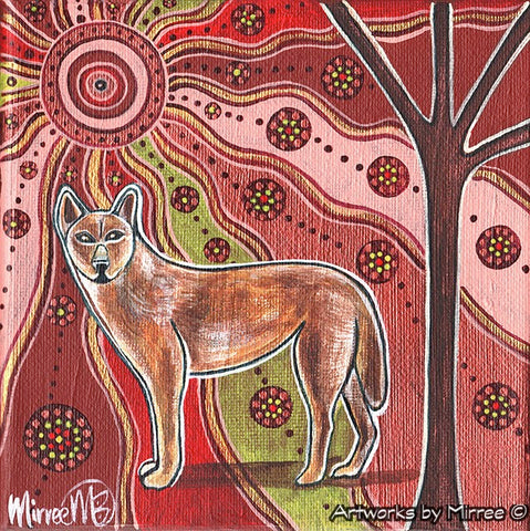 'Day Time Dingo' Original Painting by Mirree Contemporary Dreamtime Animal Dreaming