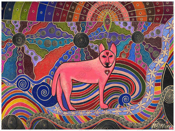 Dreamtime Dingo Crossroads Contemporary Aboriginal Art Print by Mirree