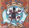 Dolphin & Turtle Dreaming Small Contemporary Aboriginal Art Original Painting by Mirree
