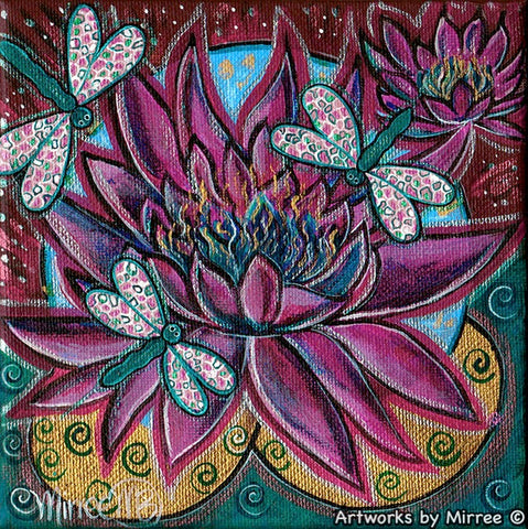 Double Pink Lotus with Dragonflies Contemporary Aboriginal Art Original Painting by Mirree