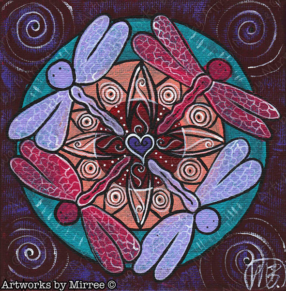 'Dragonfly Heart Breakthrough' Original Painting by Mirree Contemporary Sacred Geometrical Landscape Animal Dreaming