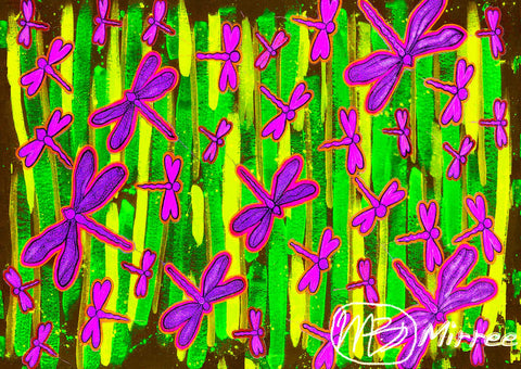 Colourful Dragonfly Spirit Dreaming Giclee Contemporary Aboriginal Art Print by Mirree