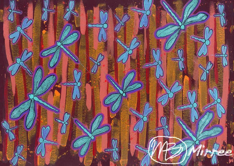Dragonfly Swamp Aboriginal Art Spirit Dreaming A6 Gift Card Single by Mirree