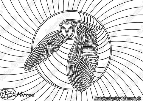 'Owl Colouring Single PDF Page COLOURING PAGE' by Mirree Contemporary Dreamtime Series