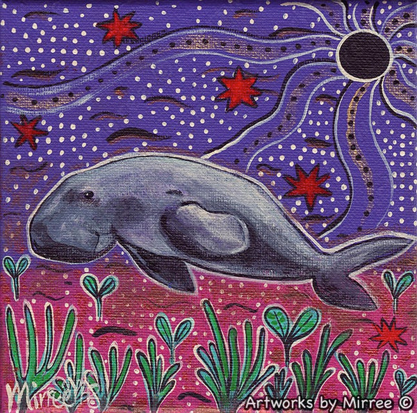 'Dugong Dreaming' Original Painting by Mirree Contemporary Dreamtime Animal Dreaming